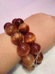 AAA grade  Natural Golden Rutilated quartz Round Bracelet jewelry8inch for gift 10\12\14\16\18\20mm