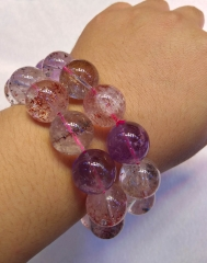AAA grade  Natural Strawberry Crystal quartz Round Bracelet jewelry 8inch for gift 10\12\14\16\18\20mm