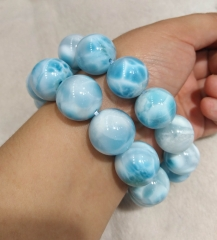 AAA grade  Natural Larimar Gemstone Ruby green Bracelet Round Red Jewelry Beaded Bracelet 8inch for gift 10\12\14\16\18\20mm