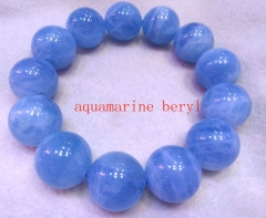 AAA grade  Natural aquamarine beryl Gemstone Round Beaded Bracelet 8inch for gift 10\12\14\16\18\20mm