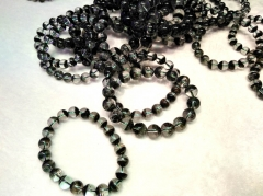 AAA grade  Natural black rutilated quartz Round Bracelet jewelry 8inch for gift 10\12\14\16\18\20mm