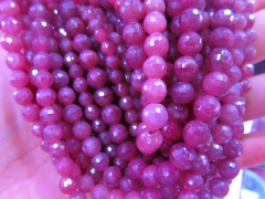 "4\6\8\10\12mm full strand 16"" Ruby Gemstone Sapphire blue round disco Faceted Natural Red Longido Loose beads"