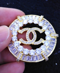 Large Charm White Silver CZ Micro Pave Brooch X Pin Flower Brooch 1 PCS Timeless Embellished Rhinestone Brooch/Pin 45mm