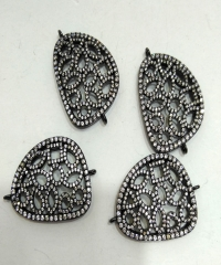 New Arrive --FreeForm Micro Pave CZ Connector Beads 20-30mm, Flower Cubic Zirconia Rhinestone Paved Connectors 5pcs
