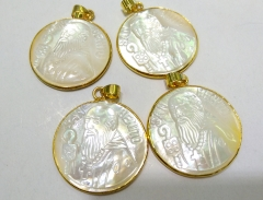 AA+ 32mm Genuine  Pearl Shell jewelry Gold Plated Palm shell gem pendant Virgin Mary Jess  cross focal beads 1PCS