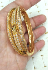 solid gold 18 K gold plated Diamond Crystal Pave bangle bracelet 1pcs