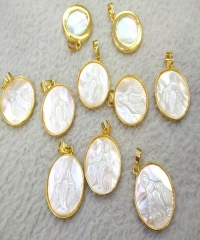 AA+  Genuine  Pearl Shell jewelry Oval Gold Plated Palm shell gem pendant Virgin Mary Jess  cross focal beads 1PCS