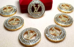 LV Connector Charm White Silver  gold rose gold gunmetalCZ Micro Pave 45mm 1pcs
