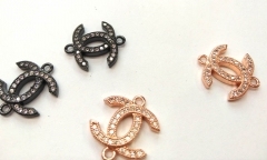 10pcs -2 ring- Micro CZ Pave CC Connetors disc roundel X Pendant, peace,rose gold CC Pendant Charm beads multi strand spacer beads16-20mm
