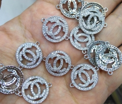 10pcs -2 ring- Chenal Micro CZ Pave CC Connetors disc roundel X Pendant, peace,rose gold CC Pendant Charm beads multi strand spacer beads16-20mm