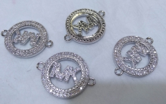 MK connector 18-22mm Chenal Micro CZ Pave Earrings CC  gold silver Charm beads 12pcs