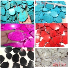 50-70mm  1pcs Assorted Turquoise Stone Slab Freeform Blue Turquoise Cabochons pink red yellow black Turquoise Jewelry turquoise pendant
