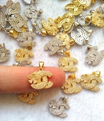 6pcs - ring- Micro CZ Pave CC flower Clover  Earings loop jewelry charm beads 15x18mm gold-silver