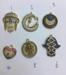 50pcs Micro CZ Pave Connector disc roundel Coin Sharp Pendant,skull moon heart Pendant Charm beads jewelry focal Brooch 20-40mm