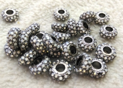 20pcs Opal crystal Brass Hematite 8mm 10mm 12mm Wheel Rondelle Micro Pave Crystal Gunmetal Findings Charm Spacer Beads
