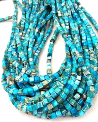 4/6/8/10mm Box Square Cubic Blue Imperial Jasper Gemstone Loose Beads Round Beads Strand 16""