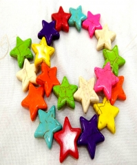 Wholesale Rainbow Turquoise Handmade Star carved beads Howlite Turquoise stone Loose bead 15\20\25\30 mm Full strand 16""