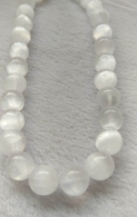 6mm 8mm 10mm 12mm 16mm -Natural Selenite White Smooth Polished Round Gemstone Beads Size Wholesale for necklace bracelet Full strand 16""