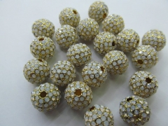Micro pave opal beads 50pcs 6 8 10 12mm Bling Pave Opal Crystal Brass Spacer Round Ball Gunmetal Gold Antique silver Charm beads