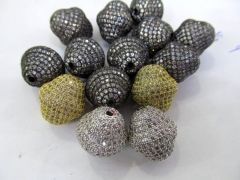10pcs 9-18mm 24K gold Black CZ,Micro Pave set cubic zirconia beads bicone diamond Football gunmetal silver gold charm connector