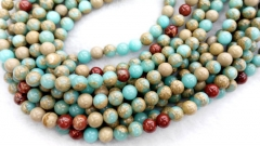 20%off--5strands 4-12mm Multicolored Impression Jasper stone Round Ball aqua blue red Nekclace Gemstone Loose Beads