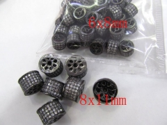 Micro Pave CZ Spacer, Top Quality 50pcs 6-13mm Brass Cubic Zirconia drum Tube column Gunmetal crystal Findings