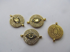 Double Loops--6pcs 20mm CZ Micro Pave Beads Spacer Beads roundel disc Micro Pave Disc Connector CZ Pave Connector Charm evil bea