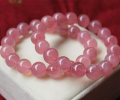 AA+ Genuine rock Crystal Quartz 8 10 12mm 8inch round ball pink red jewelry bracelet
