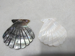 "Large pendant 50mm(2"") MOP sector carved - white -grey black mother of pearl symbol pendant beads - sea shell focal 2pcs"
