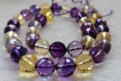 6-12mm Ametrine Quartz Amethyst-Yellow Gold quartz Rock crystal -amethyst round faceted loose beads for bracelet -necklace 16""