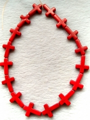 2strand 16inch Mixed Color Howlite turquoise stone - cross hot red turquoise 15-30mm