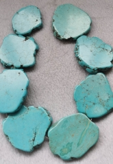 50mm+ Aqua blue Turquoise Slab 16inch turquoise stone cabochon green blue slab freeform flat nuggets bead belt finding