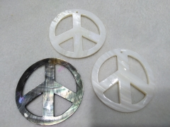 "Large pendant 50mm(2"") MOP peace sign carved - white -grey black mother of pearl symbol pendant beads - sea shell focal 2pcs"