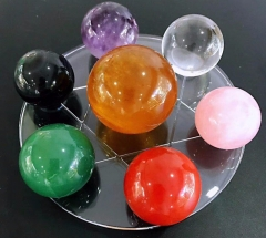 7pcs seven star array Chakra Crystal Set-round sphere ball-ReikiHealing Crystal-Chakra Balancing Stones-Quartz sphere-Meditation