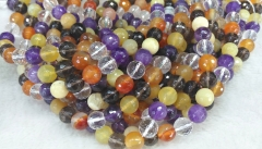 8mm 10mm 12mm genuine mixed quartz -red agate-clear white crystal -amethyst round faceted loose beads for bracelet -necklace 16""