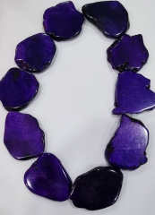 "Full strand 16"" Purple Violet Turquoise stone Black --Blue Red White Magnesite Free Form Slab nuggets bead necklace-pendant"