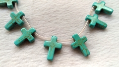 "2strand 16"" Mixed Color Howlite turquoise stone - cross turquoise pendant 15-30mm"