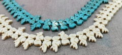 Wholesale 100strands 30x12mm Cream White Howlite Turquoise stone blue seahorse horse carved beads
