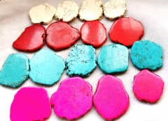 10pcs Turquoise Slab turquoise stone cabochon card slab freeform Veins flat nuggets bead finding 40-100mm(4inch) for coaster-belts