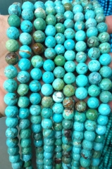 Faceted Stabilized Turquoise Bead, 4mm/6mm/8mm/10mm/12mm- Natural Blue Turquoise stone bead 16inch