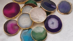 5pcs 70-90mm Agate stone table coasters - decorative tea Disc gold wraped - Blue table coasters - dessous de verre - Tischuntersetzer 1pcs