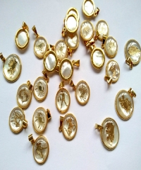 120pcs Gold Pendant Mop Shell jewelry Zodiacs Round Shell Cabochon White Pearl Shell Beads, Cute Animal Charms 16\18\22mm