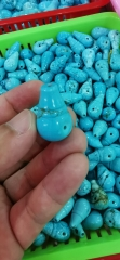 blue Turquoise Tibetan Guru Bead Set  5pcs +5strands round 8mm
