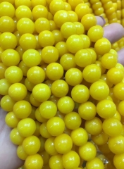 AA grade --Amber yellow Natural  jade jewelry Rond ball loose beads 6mm 8mm 10mm 12mm full strand 16inch