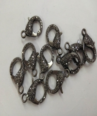 10PCS 15-25mm Hematite Lobster Clasp,24K Gold Micro Pave CZ Lobster Clasps,CZ Cubic Zirconia DIY
