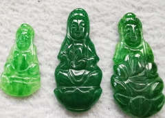 "Wholesale 32mm(1.3"") Canadian Jade Thai Buddha Carving -Natural Green Jade carving, Jade Buddha Pendant -cabochon"