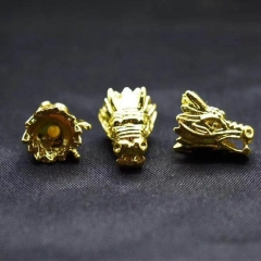Wholesale 20pcs Gold black silver Dragon Panther Head Brass Spacer Beads, Animal Head Space Beads 12x16mm