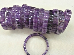 Genuine Amethyst Quartz mixed Rock Crystal Braceted Rectangle Along Horse eye  Faceted  beads 8inch