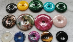 10pcs  Tiger eye stone-Amazonite -agate - jade Circle donut gemstone pendant focal bead -red-yellow-white-black 30mm 35mm 40mm 45mm
