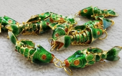 6PCS Handmade Cloisonne articulated fish Animal  Brass pendants-Earrings 35mm 45mm  DIY  charm blue-green-purple-pink red